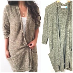 Anthropologie | Sparrow Olive Green Open Cardigan